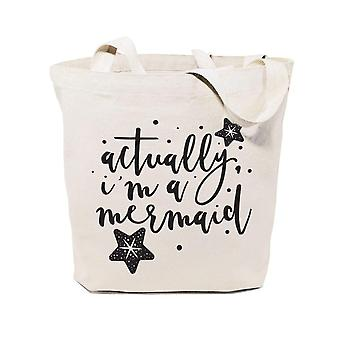 Actually I M A Mermaid-cotton Canvas Tote Bag
