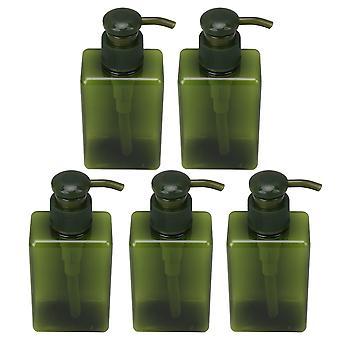 5 Pieces Empty Pump Bottles Square Plastic Bottle Green 150ml