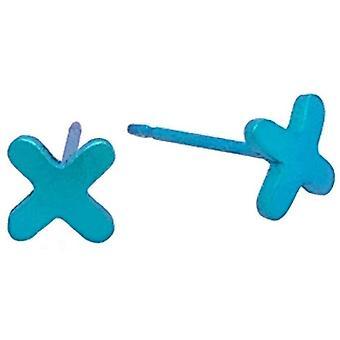Ti2 Titanium Plus Shape 7mm Stud Earrings - Kingfisher Blue