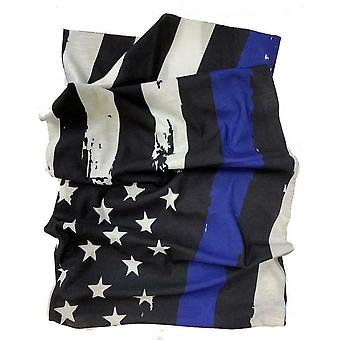 USA Flag Black Blue Motorcycle Neck Tube Face Mask Scarf Bandana One Size