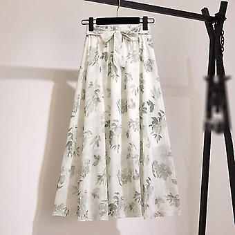 Mujeres's faldas primavera estilo coreano Midi rodilla longitud elegante botón largo alto