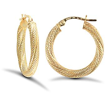 Jewelco London Ladies 9ct Yellow Gold Snake Skin Twisted 3mm Hoop Boucles d'oreilles 20mm