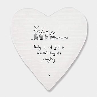 East of India Heart Porcelain Coaster Family is Everything Keepsake Gift