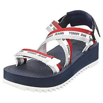 Tommy Jeans Lurex Webbing Strappy Womens Platform Sandals in Twilight Navy