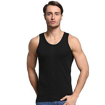 夏の男性コットン快適なアンダーシャツノースリーブカジュアル下着