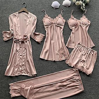 Ženy Satén sleepwear Hodvábne výšivky Pyžamá s hrudnými vankúšikmi