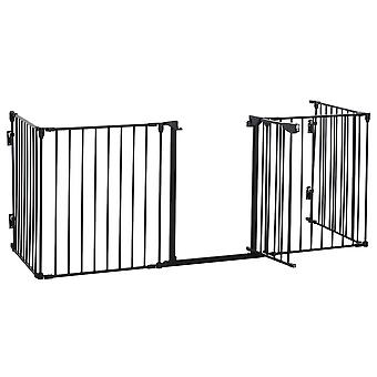 PawHut Pet Safety Gate 5-Panel Playpen Fireplace Christmas Tree Metal Fence Stair Barrier Room Divider with Walk Through Door Automatically Close Lock Black