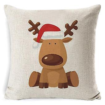 Christmas Decoration Cushion Cover Cartoon Elk Santa Cushion Cover