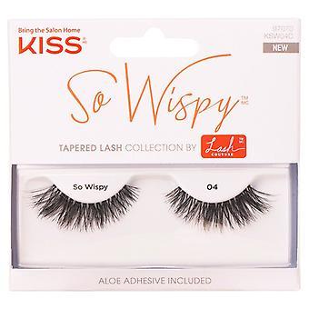 Kiss Lash Couture Reusable False Eyelashes - So Wispy 04 - Adhesive Included