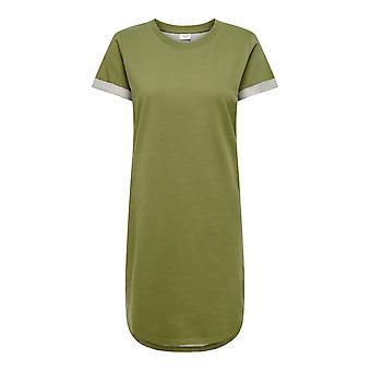 JDY Women Short Sleeve Summer Dress Round Neck Midi Shirt Dress Loose Fit Tunika
