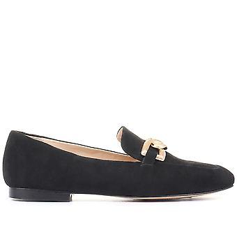 Jones Bootmaker Womens Mapleton Chain Embelezado Loafers de Couro