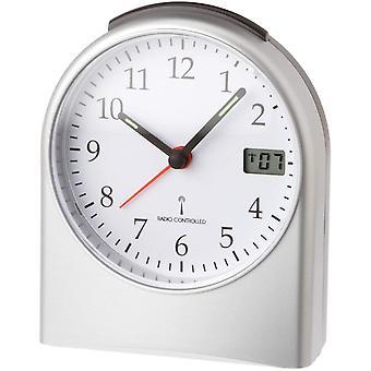 Wokex 98.1040.54 Analoger Funk-Wecker, mit digitaler Sekundenanzeige, Funkuhr, mit