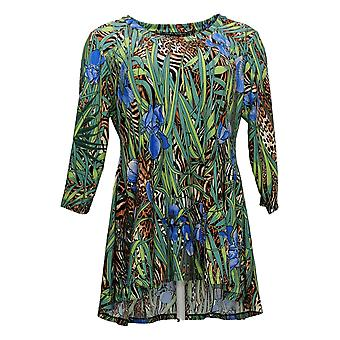 Attitudes by Renee Women's Petite Top Jersey Printed Tunic Green A378523