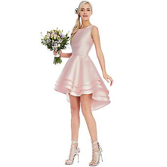 Multilayered asymmetric hi-lo mini dress