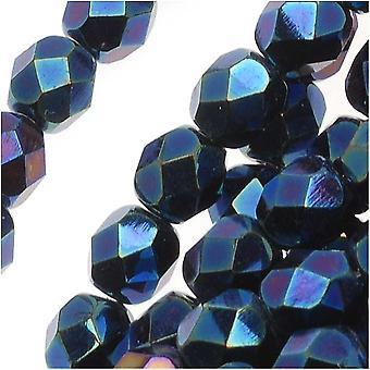 Tšekkiläinen tuli kiillotettu lasi läjät 6mm pyöreä sininen Iris (25)