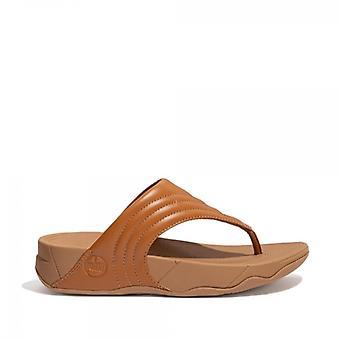 FitFlop Walkstar Ladies Læder Wide Fit Tå Post Sandaler Light Tan