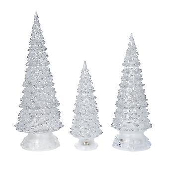 Weihnachtsdekoration Set von 3 Kristallbaum mit Farbwechsel LED-Leuchten