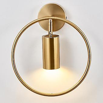 Bedroom wrought iron simple bedside lamp E27 Nordic creative hotel guest room personality round LED
