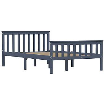 vidaXL Sängyn runko Harmaa massiivipuu mänty 120 × 200 cm