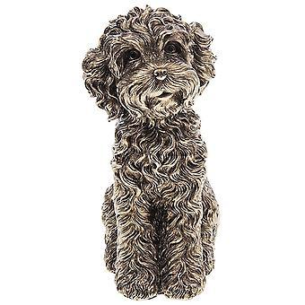 Joe Davies Brons Cockapoo sitter stor hundharts figurin 311100