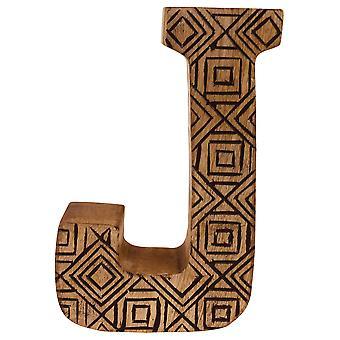 Litera J Ręcznie rzeźbione drewniane geometryczne