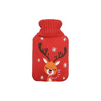 2000ml Hot Water Bag Classic Hot Water Bottle Portable Hand Warmer With Knitted Container Bag (orange, Long-horned Deer Pattern)