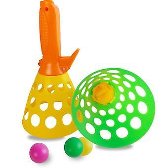 Outdoor indoor spel voor kinderen, pass-catch bal spel met 2 launcher manden en 2 ballen