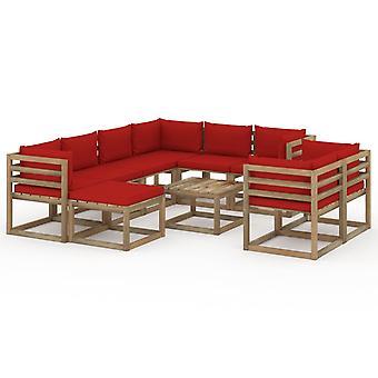 vidaXL 10 kpl. Garden Lounge -setti - Tyynynpunainen