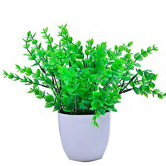 Homemiyn Simulation Plant Potted Plant Artificial Plant Decoration Indoor Green Plant Small Bonsai Pastoral Living Room Office Display