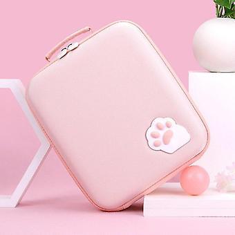 Söpö tyttö kissa kynsien säilytyspussi Nintendo Switch Bag Nintend Switch (vaaleanpunainen)