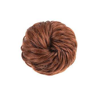 3 Pcs Rizado Scrunchie Chignon con banda elástica de pelo sintético anillo envolver alrededor en la cola del pelo desordenado