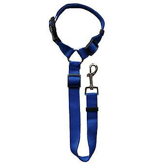 ( Blå) Reb Traction Seletøj Strap Auto Bil Pet Bageste sikkerhedssele Hund Sikkerhed