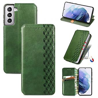 Case For Samsung Galaxy S21 Flip Cover Wallet Flip Cover Wallet Magnetic Protective Handytasche Case Etui - Green