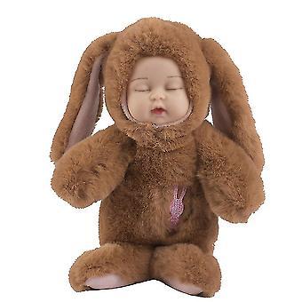 Schattige slaap bunny konijn pop sleutelhanger pluche speelgoed hanger