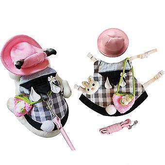 Lemmikki kani vaatteet farkkutakki takki pieni eläin valjaat talutushihna liivi laukku hattu asetettu fretti pupu hamsteri pieni lemmikki tarvikkeet