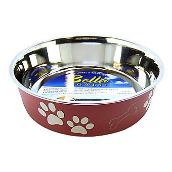 """Loving Pets Stainless Steel & Merlot Dish with Rubber Base - Large - 8.5"""" Diameter"""