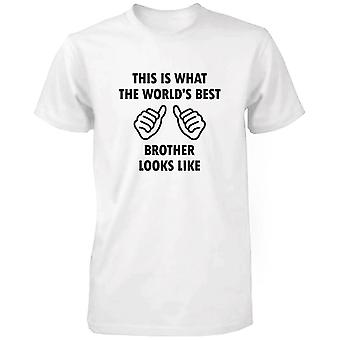Men's Funny White T-Shirt With Graphic Bold Statement - World's Best Brother
