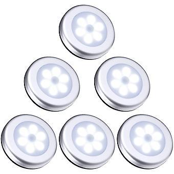 Lampada/armadio armadio led, lampade da 6 pezzi Armadio Luce notturna, rilevatore di movimento di illuminazione a led, luce argento bianco