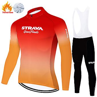 Strava Men's Long Sleeve Cycling Trousers Autumn Winter Thermal Fleece Cycling Clothing Set /red