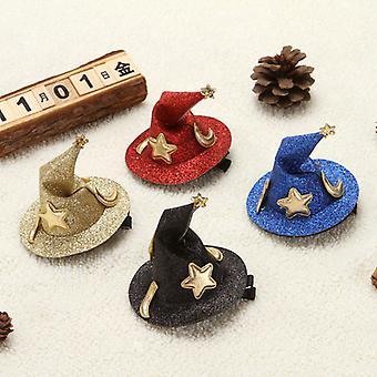 Halloween Witch Curving Hat Hairpin Headwear 4 peças Set