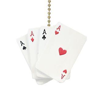 Pôquer mão Aces corações diamantes espadas clubes ventilador de teto luz Pull