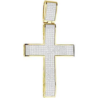Premium Bling - 925 sterling silver XL Krzyż Złoty wisiorek