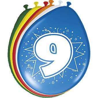 Ballon bunt Luftballons Zahl 9 Geburtstag 8 St. Deko Ballons Party