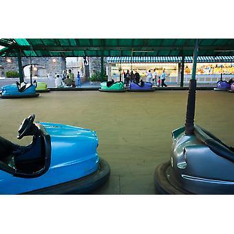 広々 とした客室遊園地サン ・ セバスティアン ギプスコア県バスク国地域スペイン ポスター印刷パノラマ画像 (36 x 24) で夕暮れ時にバンパー車