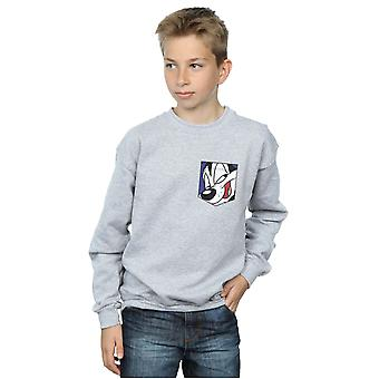 Looney Tunes jungen Pepe Le Pew Gesicht Faux Pocket Sweatshirt