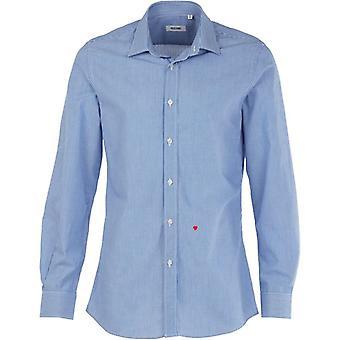 Moschino R701X1 65302 04 blå / vit Pinstripe Casual skjorta