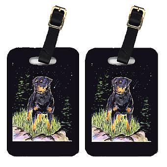 Carolines Treasures  SS8475BT Starry Night Rottweiler Luggage Tags Pair of 2