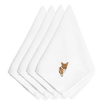 Carolines Treasures  EMBT2398NPKE Corgi Embroidered Napkins Set of 4