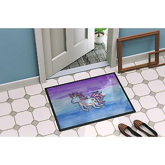 Blue Unicorn Watercolor Indoor or Outdoor Mat 18x27