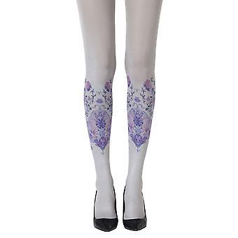 Zohara ZOF423-LGMC Women's Alice In Wonderland Grey Fashion Tights